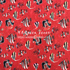 100X145cm Fashion Week Tropical Fish Red Stretch Soft Jacquard Fabric For Woman Girl Summer Dresses Fishtail