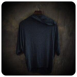 Image 2 - Hauts à manches asymétriques homme, 2 couleurs, haut de gamme, à la mode, non courant, vêtements pour hommes