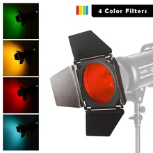 Godox BD 04 Bowens Mount Barn Door + Honeycomb Grid + 4 Color Filter for Standard Reflector for Godox QT600IIM/QT400IIM