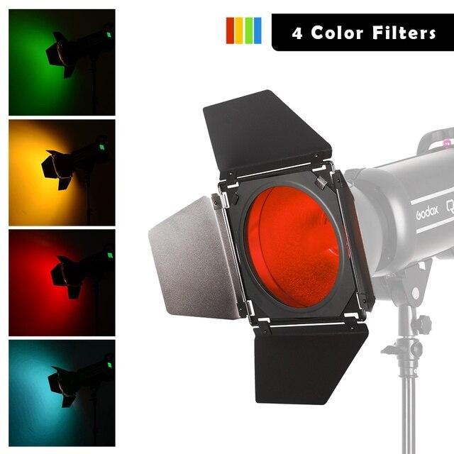 Godox BD 04 Bowens zamontuj drzwi do stodoły + siatka o strukturze plastra miodu + 4 filtr kolorów do standardowy reflektor do Godox QT600IIM/QT400IIM