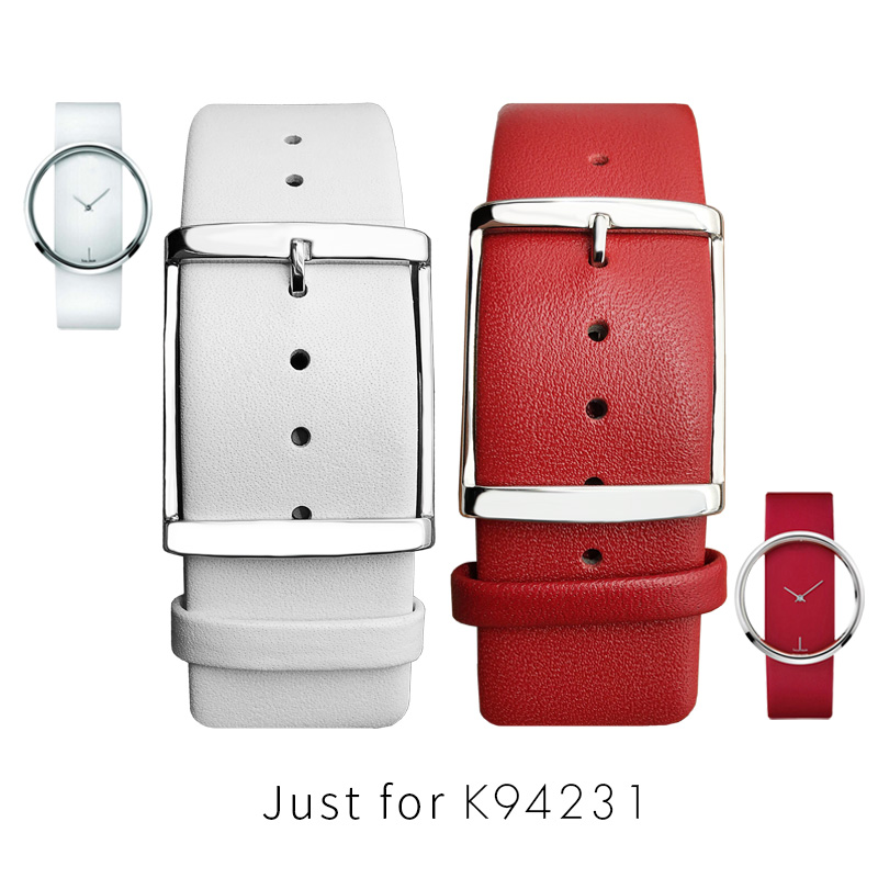 Women's Watch Bands For CK K94231 Genuine Leather Soft Durable For Calvin Klein Strap Watchbands 22MM White Black Brown Red Men
