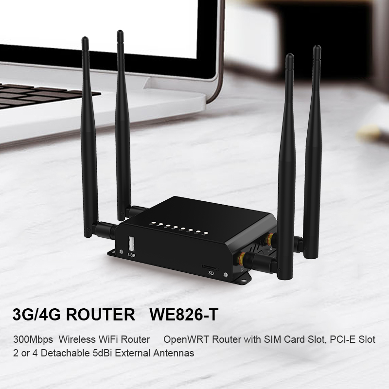 Image 3 - Router Wi Fi Watchdog With 4 External 5dBi Antennas 3G 4G LTE SIM Card Wifi openWRT Factory Wholesale WE826 WD-in Wireless Routers from Computer & Office