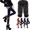 Frete grátis Inverno Mulheres Collants sem pés Manter Aquecido Proteção Pedal Elástico Slim fit de Lã meia-calça