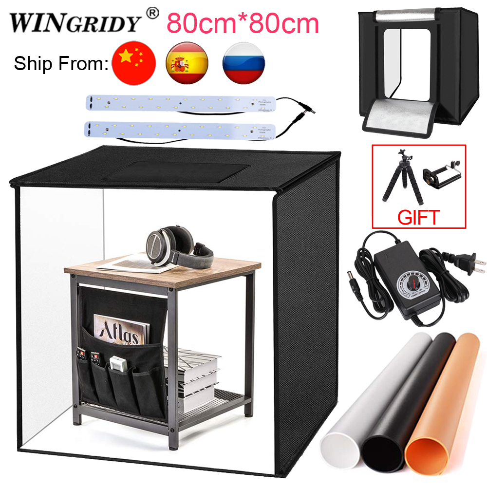 WINGRIDY 80cm LED Folding Photo Studio Softbox Lightbox 80*80 Light Tent W80 White Yellow Black Background Accessories Box Light
