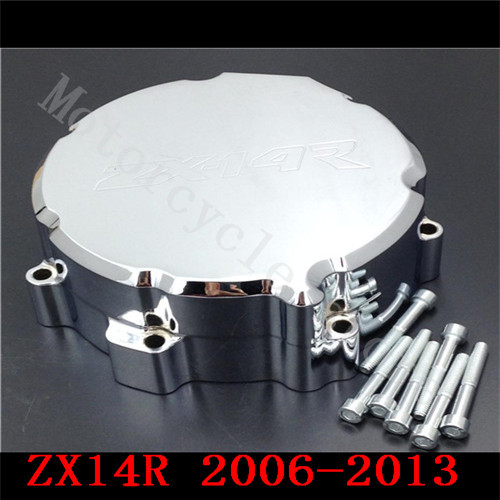 For Kawasaki ZX14R ZX-14R ZZR1400 2006 2007 2008 2009 2010 2011 2012 2013 2014 Motorcycle Engine Stator cover Chrome Left side motorcycle cnc stator cover slider frame crash protector for kawasaki ninja zx14r 2006 2007 2008 2009 2010 2011 2012 blue