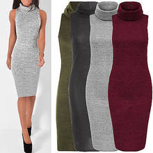 New Design Long Sweater Dress Autumn Winter Women Fashion Pullovers Jumper Sexy sleeveless Bodycon Basic Knitted Sweater Dress(China)