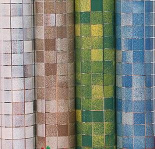 Acquista carta da parati mosaico bagno piastrelle olio pellicola alluminato - Carta da parati impermeabile per bagno ...