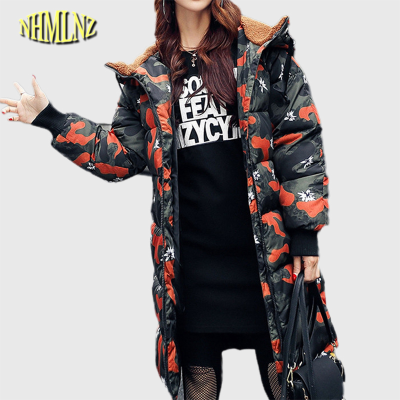 2017 The New In the long section Camouflage Cotton coat Women's clothing winter Cotton clothing coat Long sleeves Hoode WK013 sky blue cloud removable hat in the long section of cotton clothing 2017 winter new woman