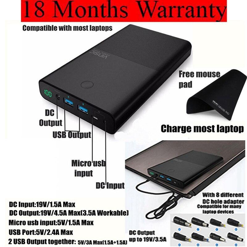 Vinsic Laptop Power Bank 30000mah For Notebook PC Lenovo Samsung Laptop Powerbank External Battery Charger 18