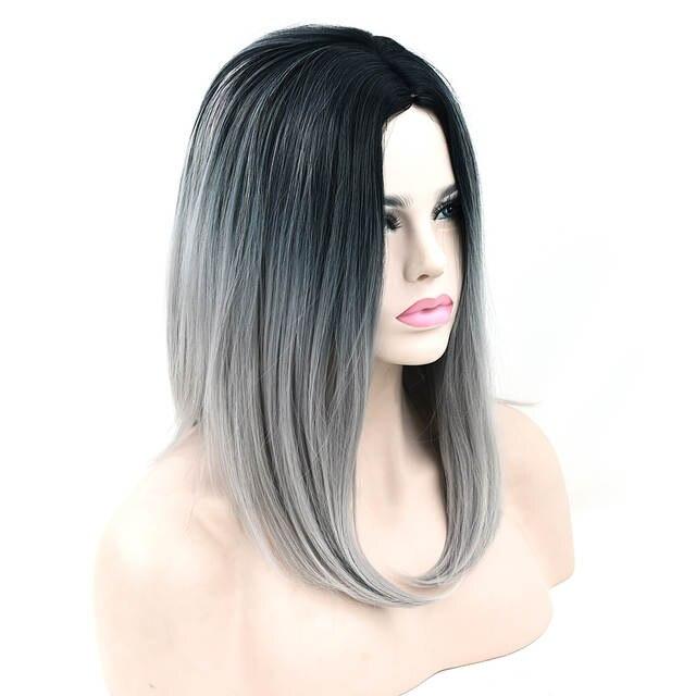 Us 9 0 50 Off Soowee 10 Farben Synthetische Haar Schwarz Grau Ombre Haar Bob Frisur Kurze Perucken Fur Schwarze Frauen Partei Cosplay Perucke In