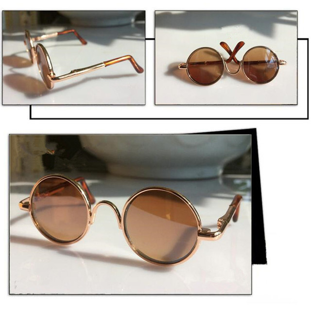 Doll Accessories Round-Shaped Round Glasses Brown Color Glasses Sunglasses Suitable for 1/3 BJD Dolls,Mini Doll Accessories