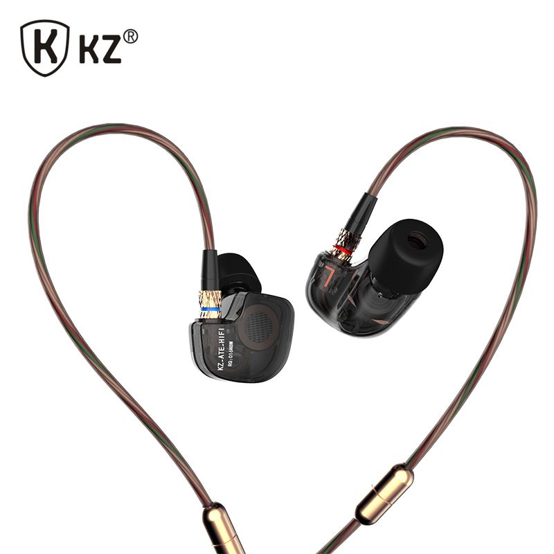 New Original KZ ATE 3.5mm In Ear Earphones HIFI Metal Stereo Earphones Super Bass Noise Isolating Sport Earbuds With Microphone