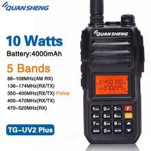 Iluminación led en TG-UV2 PLUS de alta potencia 10 W 5 en las bandas 136-174 MHz/policía 350-390MH/400-470 MHz 4000 mAh 10 KM de alcance 200CH Radio Walkie Talkie