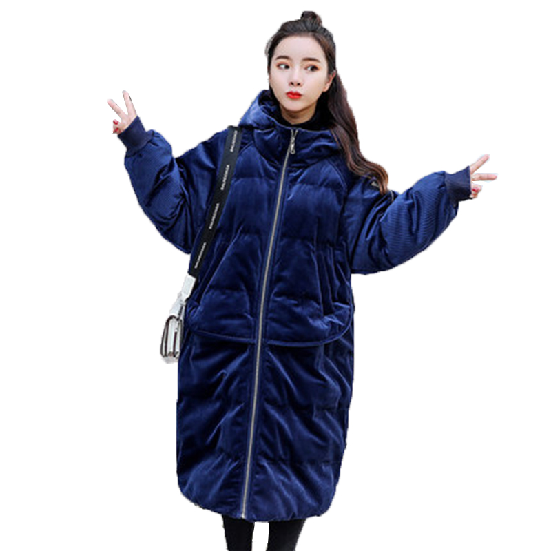 De Veste Taille Femmes Le Coton Bas Manteau Capuchon Parkas Coton navy Pink Manteaux Coréen Lâche Vers rembourré Hiver À Élégant Grande Velours 2018 Or Rq4zpOf