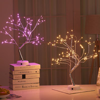 Creative Starry Pearl LED Copper Night Light Tree Lights Touch Switch Colorful Fireworks Firefly Desk Lamp for Kids Girls Room