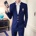 freeshipping costume homme 2016 Korean new mens hair stylist slim fit suits Groom Wedding Suit nightclub 2 piece set jacket+pant