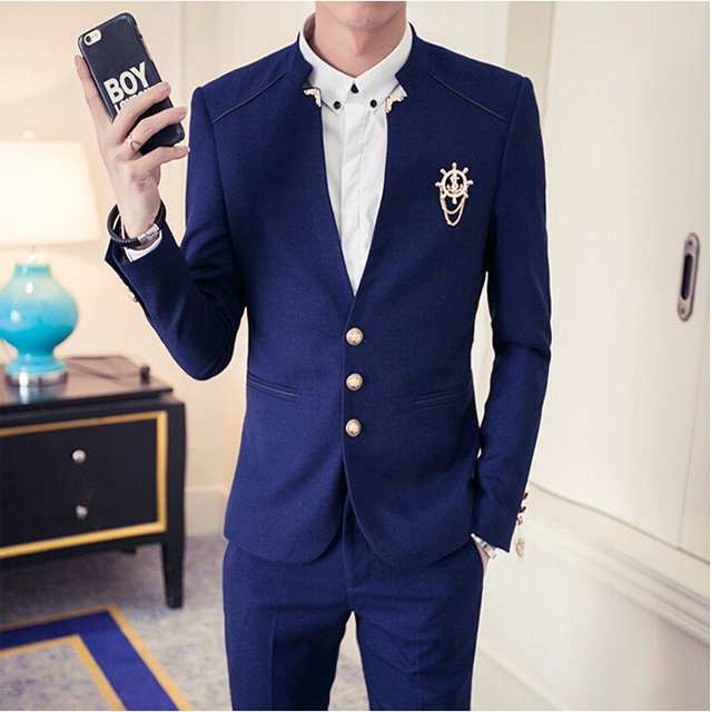 Freeshipping Costume Homme 2016 Korean New Mens Hair Stylist Slim Fit Suits Groom Wedding Suit Nightclub