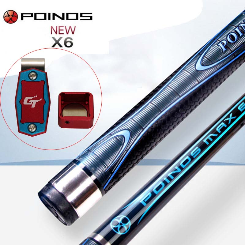 X6 POINOS Billiard Pool Cue Stick 12 75mm 11 5mm Tip with Red Magnetic Chalk Holder