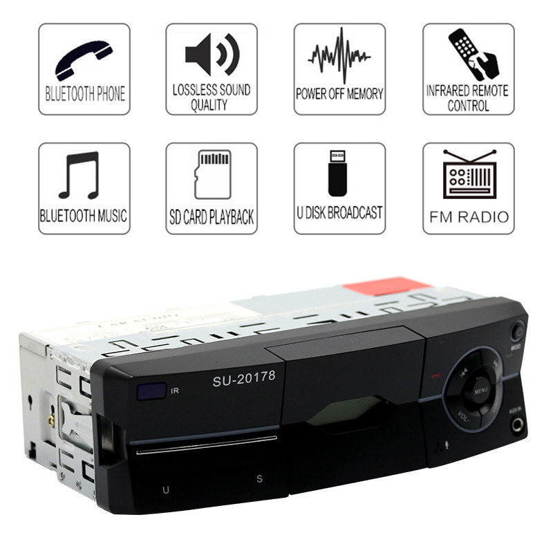 1 Din Black Car Audio Digital Mp3 Player Bluetooth In-dash Stereo Radio Fm Aux Handsfree Calling With Phone Stand High Standard In Quality And Hygiene
