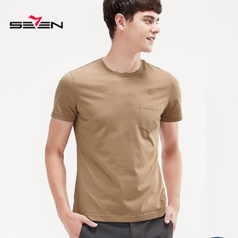 Seven 2019 T-Shirt hommes couleur unie T-shirt hommes T-Shirt hommes mode t-shirts Slim Fit décontracté pour homme T-shirt 116T58200