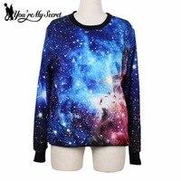 Beautiful Women Cosmic Blue Sweatshirts Galaxy Space Digital Print Long Sleeve Crew Neck Black Milk Sky
