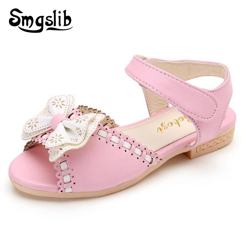 Gadis kecil sandal, Musim panas sepatu anak-anak, Ikatan simpul PU kulit lembut sepatu flat, Bayi tunggal, Gadis 2016 balita ...