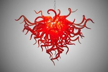 Modern Crystal LED Chandeleir Chihuly Style Hand Blown Murano Glass Red Chandelier Light
