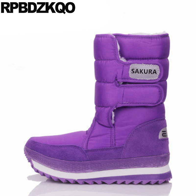 2017 Mid Calf Winter Warm Round Toe Shoes Purple Cheap Big Size Snow Boots Flat Fur Fashion Ladies Chinese Female New