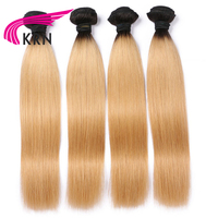 KRN 4 Pieces 1B/27 Ombre Color Remy Hair Brazilian Straight Hair Bundles 100% Human Hair Bundles Free Shipping 8 30 Inch