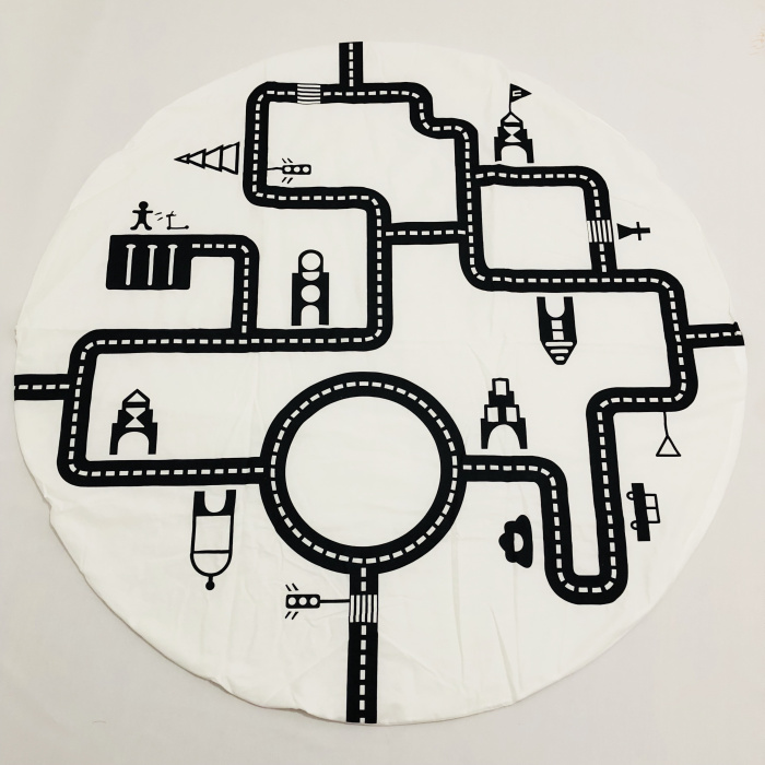 INS модели лабиринт игровой коврик дорожный хлопок двойной круглый черно-белый игровой ковер одеяло для ползания украшение детской комнаты одеяло - Цвет: Diameter 120cm