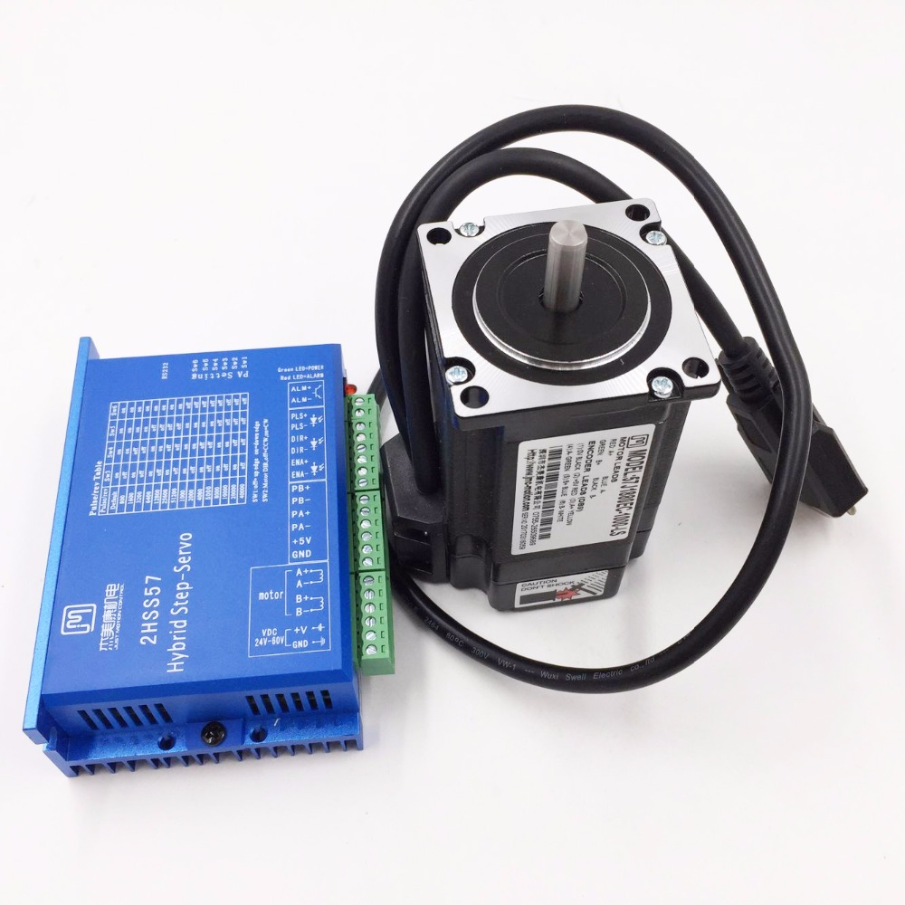все цены на 57J1880EC-1000+2HSS57 NEMA23 2.2NM 5A 2 phase 57mm Hybird Closed Loop Stepper Motor+Drive Kit with 1000line Encoder and Cable онлайн
