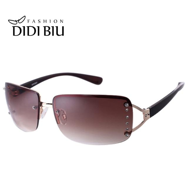 10a9db5f893e2 DIDI Diamante Óculos De Sol Das Mulheres Marca de Luxo Branco Liga Sem Aro Óculos  de