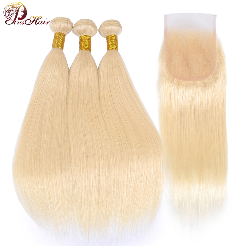 Pinshair Brazilian Hair Weave 2 3 Bundles With Frontal Closure 613 Honey Blonde Human Hair Straight Bundles With Closure Nonremy