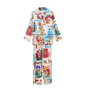 Image 3 - Fashion Brand Real Silk Women Pajama Two Piece Printed 100% Silk Sleepwear Female Spring Autumn Long Sleeved Pyjama Sets YE1559