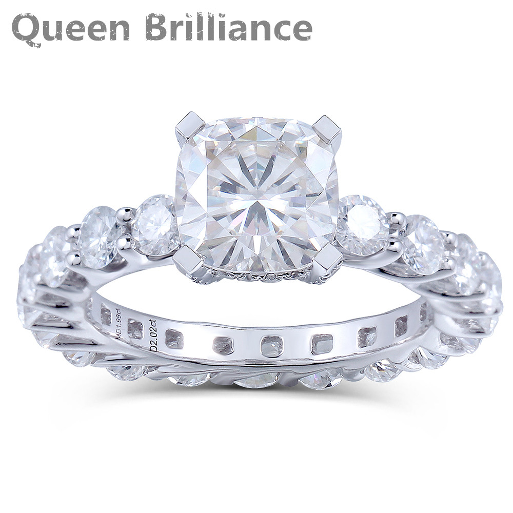 2 карат F Цвет Лаборатория Grown Подушка вырезать Муассанит Алмаз Обручение модные свадебные кольцо Твердые 14 К 585 Белое золото для женщин