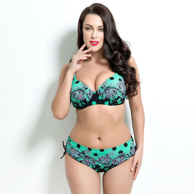 Polka Dots Bikinis Women Plus Size Swimsuits Floral Low Waist