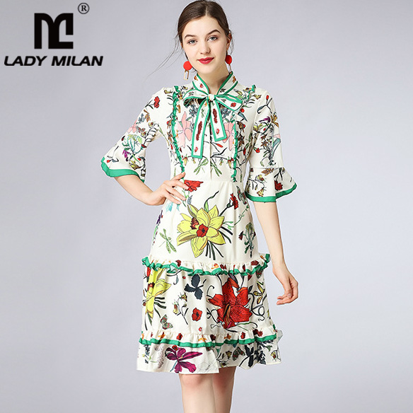 New Arrival Womens Bow Detailing 3/4 Sleeves Tiered Ruffles Floarl Printed Fashion Runway Dresses Casual Summer Dresses