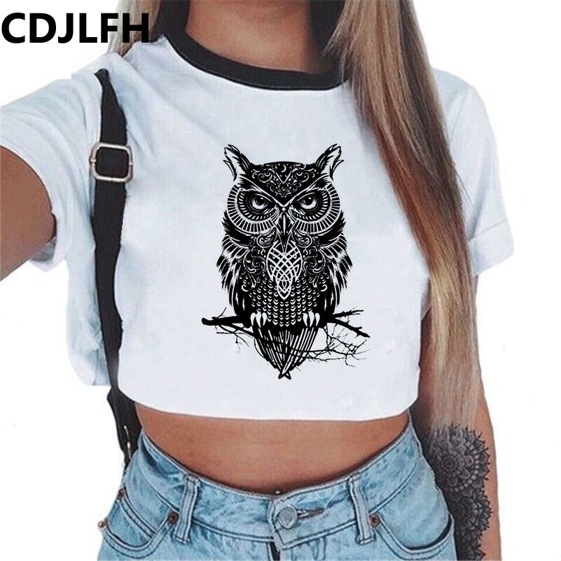 CDJFLH Harajuku Womens Tops And Blouses Summer 2018 Shirt Women O Neck Top Clothes Transparent Polyester Print White Blouse
