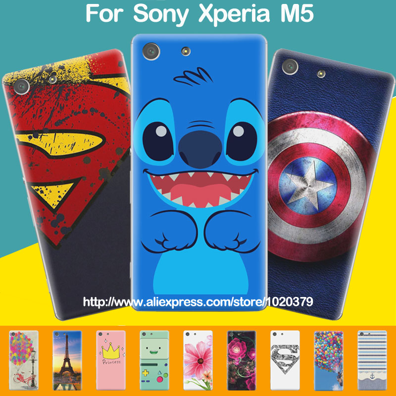 on sale 17a06 6a8a1 US $9.99 |New Cute Painted Case For Sony Xperia M5 Dual, Fashion Hard  Plastic Back Cover For Sony Xperia M5 E5603/E5606/E5653 Phone Cases on ...