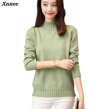 Xnxee women fashion sweater new autumn and winter loose plate semi high collar
