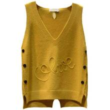 Весна-Осень, Женский однотонный жилет с v-образным вырезом, женские вязаные топы, женский свободный свитер, пуловер, корейский жилет без рукавов А19