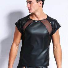 AIIOU Mens Sexy Faux Leather Funny Erotic Mesh Gay Undershirts Costumes Black Underwear Tank Top Clubwear for Men