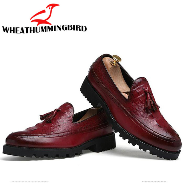New luxury brand fashion Men tassel loafers shoes leather italian formal dress Pointed Toe Oxfords Formal Wedding shoes LH-9595