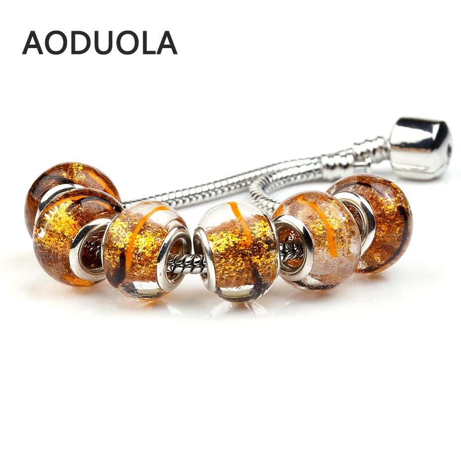 Calvas 925 Sterling Silver Large Hole Orange Red Charm Bead Fit European Bracelet Jewelry