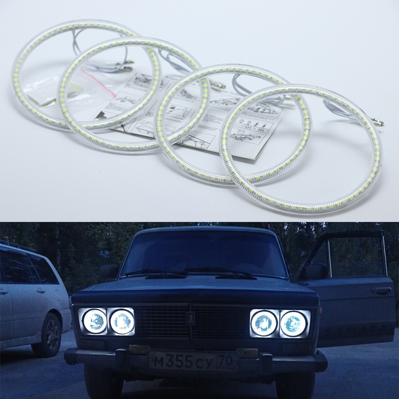 Ultra bright SMD white LED angel eyes halo ring kit daytime running light DRL For Lada Vaz 2106 1976 1997 1998 1999 2000 2001