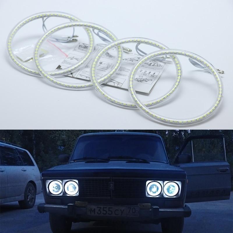 Ultra Bright SMD White LED Angel Eyes Halo Ring Kit Daytime Running Light DRL For Lada Vaz 2106 1976 1997 1998 1999 2000 2001