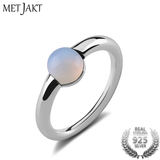 MetJakt Natural Gem Moonstone Ring Solid 925 Sterling Silver for Women Fashion J