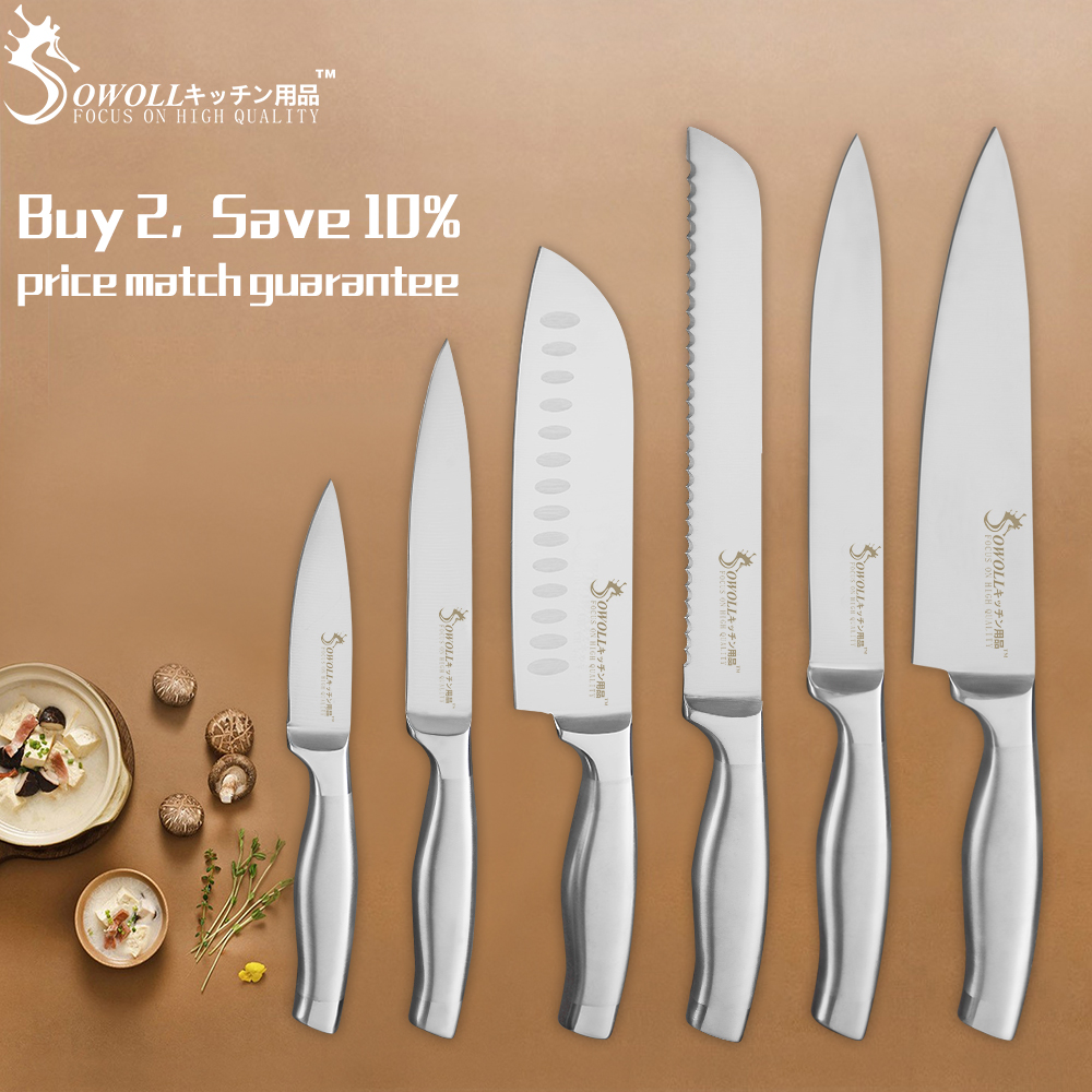 SOWOLL Kitchen Knife Set 6 Pieces Set Fruit Utility Santoku Slicing Bread Chef Knives Sharp Stainless