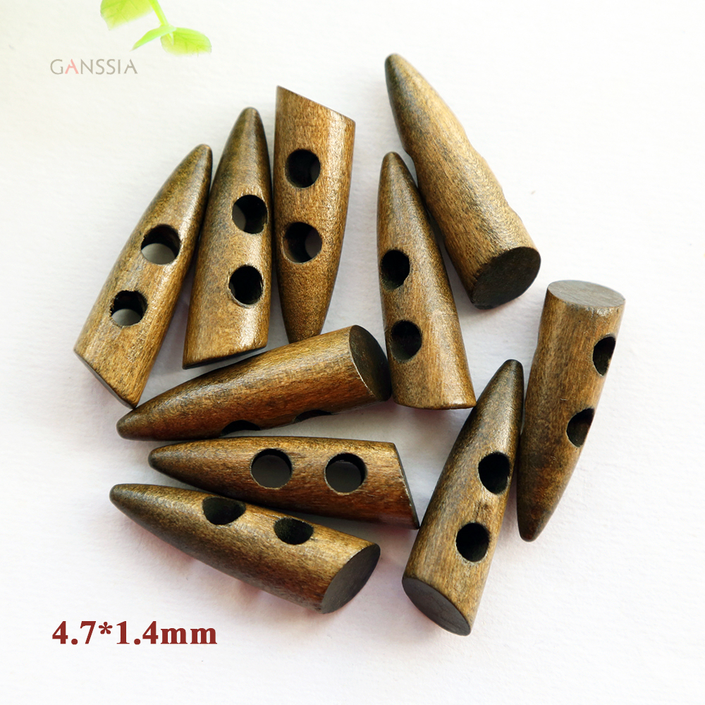 CH 35mm x 11mm Dark Wooden Toggle Buttons with two holes