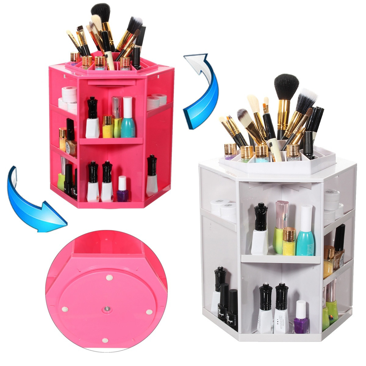 360 Degree Rotation Cosmetic Storage Box Polygon Folding Desktop Makeup Tool Storage Box Cosmetic Makeup Organizer